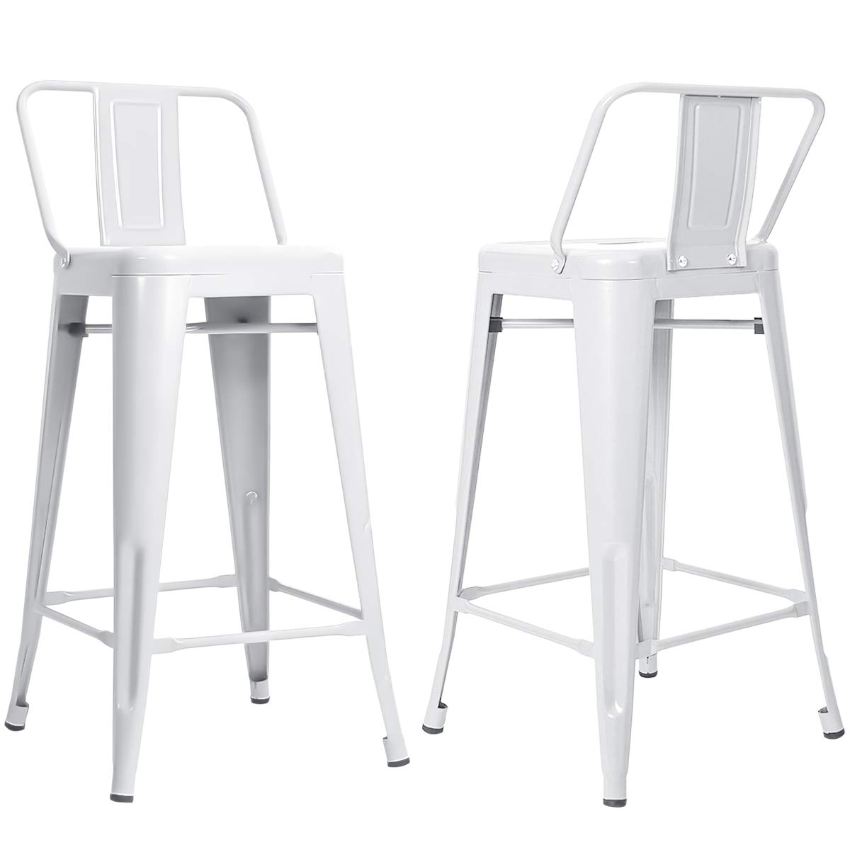 MOOSENG 26 inch Metal Barstools Set of 2 Indoor with Low Back Counter Height Stool Kitchen Dining Side Bar Chairs, White-2pack
