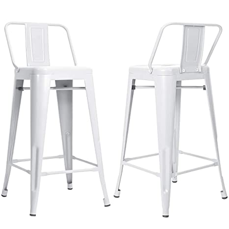 Awe Inspiring Mooseng 26 Inch Metal Barstools Set Of 4 Indoor Outdoor With Low Back Counter Height Stool Kitchen Dining Side Bar Chairs White 4Pack Unemploymentrelief Wooden Chair Designs For Living Room Unemploymentrelieforg