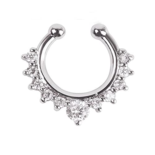 5407baf71 BODYA Fake Nose Ring Jewelry cz Crystal Septum Piercing clicker Faux Clip  Non Pierced Body Hoop Ring for Women Silver: Amazon.ca: Jewelry