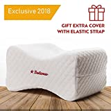 Knee Support Pillow for Men Women - Hip Sciatic Nerve Pillow - Leg Knee Surgery Contour Wedge Cushion - Back Pain Relief Pillow with Strap - Orthopedic Memory Foam Abduction for Side Sleepers