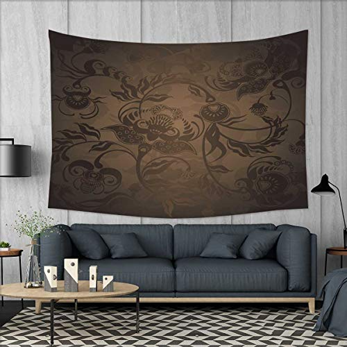 smallbeefly Victorian Customed Widened Tapestry Floral Paisley Ivy Design Leaves with Abstract Details Ancient Print Wall Hanging Tapestry 90
