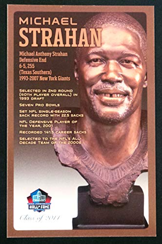 (PRO FOOTBALL HALL OF FAME Michael Strahan NFL Bronze Bust Set Card Postcard (Limited Edition #94 of 150))