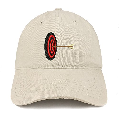 (Trendy Apparel Shop Archery Target Quality Embroidered Low Profile Brushed Cotton Dad Hat Cap - Stone)