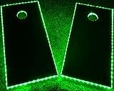 GlowCity Light Up LED Cornhole Boards Kit (2 Board Kit) Double The Illumination with Closer Spaced LED's (Green)