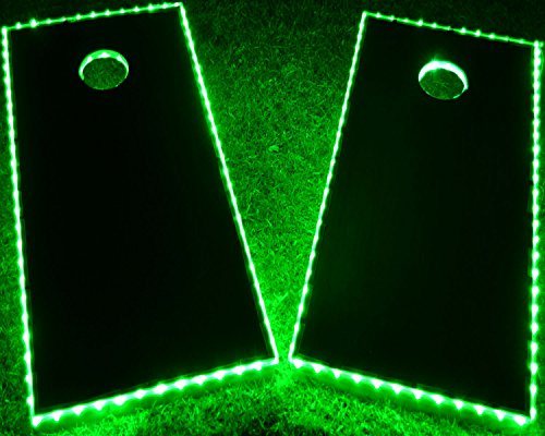 GlowCity Light Up LED Cornhole Boards Kit (2 Board Kit) Double The Illumination with Closer Spaced LEDs (Green)
