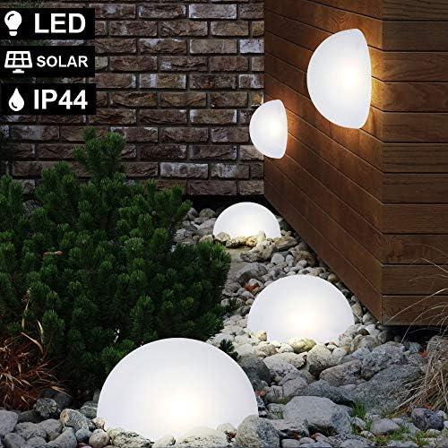 7er Set RGB LED Solar Leuchten Halb Kugel Steck Strahler Garten FERNBEDIENUNG Außen Lampen weiß