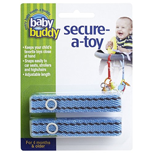 Baby Buddy 2 Piece Secure-A-Toy, Blue/Brown Stitch