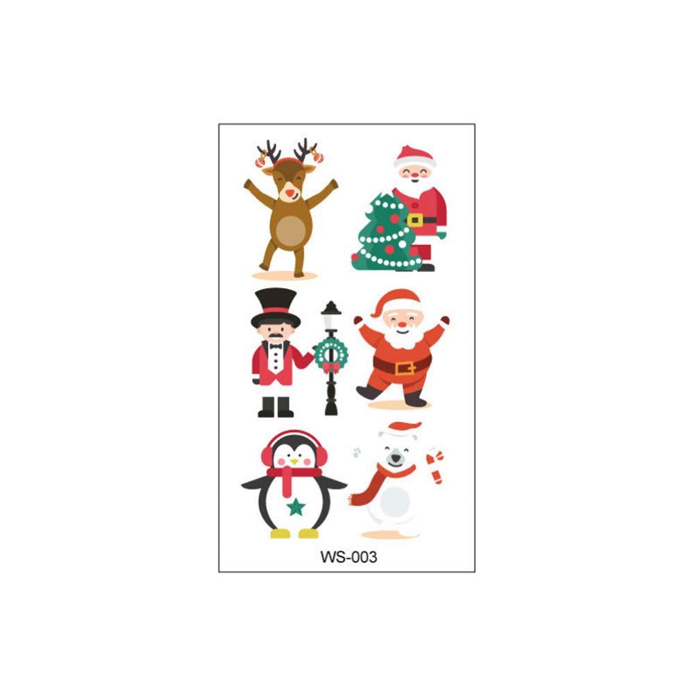 SUPVOX 10pcs Christmas Body Stickers Temporary Paper Santas Xmas Tree Tattoo Disposable Cartoon Tattoos Stickers Decor Party Props for Kids Children