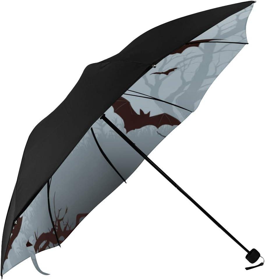 Halloween Nocturnal Bat Night Pattern MMLCGG Lightweight Portable Sun/&Rain Travel Umbrella