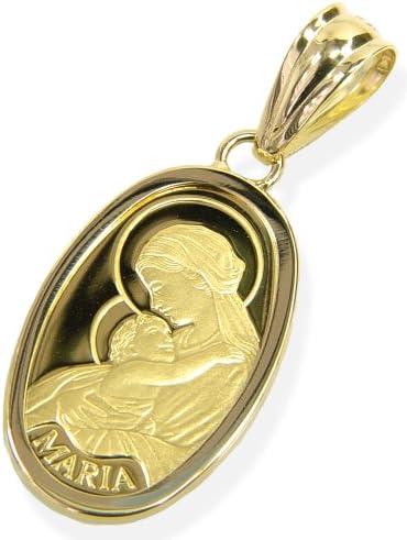 純金ペンダント・2.5グラムマリア肖像オーバルフォルム・K24金18金枠 【ギフトラッピング済み】 …