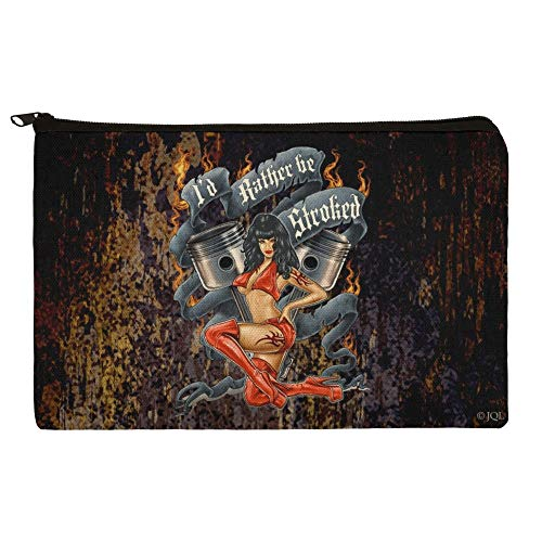 - Pistons I'd Rather Be Stroked Hot Rod Motorcycle Makeup Cosmetic Bag Organizer Pouch