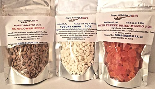 - Sugar Gliders U.S.A. HI Protein/HI Energy 3 Pack-Honey Sunflower(2 OZ), Yogurt Chips(3 OZ)& DICED Freeze Dried Mango(3 OZ)
