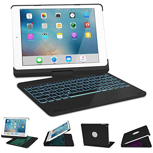 Keyboard Case for iPad 2017/2018 New iPad 9.7(5th, 6th), iPad pro 9.7, iPad Air, iPad Air 2, SENGBIRCH 7 Colors Backlit/Wireless Bluetooth/Folio Smart 360 Rotate/Auto Wake and Sleep, Black