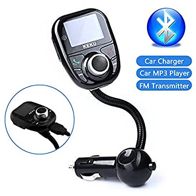 KEKU Univeral LCD Display Bluetooth Wireless Car MP3 Player FM Transmitter Modulator Radio Adapter Handsfree Car Kit with Hands-Free Calling Music Control Mic