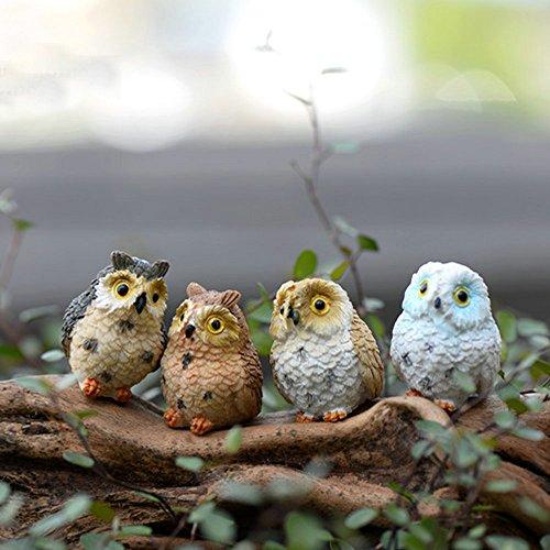 Artificial Animal Owl Miniature Fairy Garden Home Houses Decoration Mini Craft Micro Landscaping Decor DIY Accessories (4 pcs)