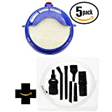 5-Pack Replacement HEPA post motor filter for Dyson - Compatible with Dyson DC25, Dyson DC25 Animal, Dyson DC25 Multi Floor, Dyson DC25 Multi-Floor, Dyson 916188-05, Dyson 916188 05, Dyson DC25 Blueprint - Limited Edition, Dyson DC25 Blueprint, Dyson 91618805 (with 1 Micro Vacuum Attachment Kit)