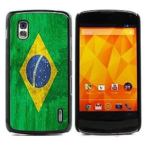Graphic4You Vintage Brazilian Flag of Brazil Design Hard Case Cover for LG Nexus 4