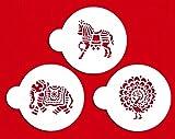 Designer Stencils C840 Indian Animals Stencil Set, Beige/Semi-Transparent