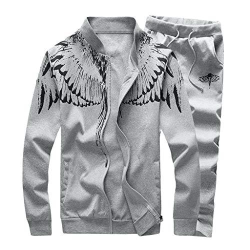 TUSANG Men 3D Print Angel Wings Sweatshirt Top Pants Sets Sport Leisure Fleece Suit Cardigan Tracksuit(Gray,XL)