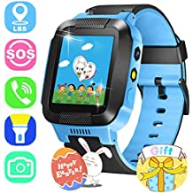 ONMet Kids GPS Tracker Smart Watch With Camera,Flashlight,Math Game,SOS Call,Voice Chatting,Remote Monitor Anti Lost Kid Smartwatch Easter Item for Kids Boys Girls Support Android IOS (Blue)