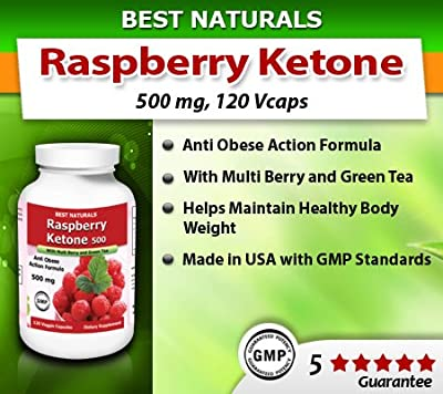 Best Naturals Raspberry Ketone with Green Tea, Anti Obese Action Formula, 500mg, 120 Veggie Capsule