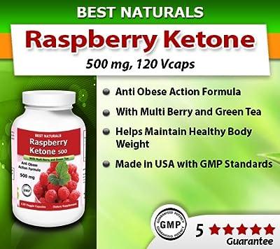 Best Naturals Raspberry Ketone with Green Tea, Anti Obese Action Formula, 500mg, 120 Veggie Capsule