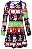 LaSuiveur Women's Christmas Santa Claus Print Pullover Flared Dress