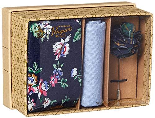 Original Penguin Men's 3-Piece Floral Tie, Pocket Square & Lapel Pin Box, Navy, One Size