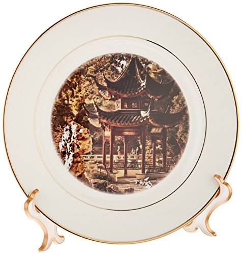 3dRose cp_12676_1 Chinese Pagoda Garden Porcelain Plate, 8-Inch