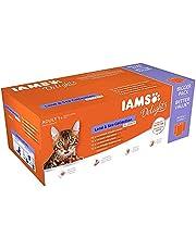 IAMS Delights Land & Sea Collection In Gelei 100395, Gebalanceerd Natvoer voor Volwassen Katten Vanaf 1 Jaar, 48 x 85 gram Vershoudzakjes, Verschillende Smaken