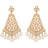 Touchstone Indian bollywood faux pearls long chandelier jewelry earrings in antique gold tone for women