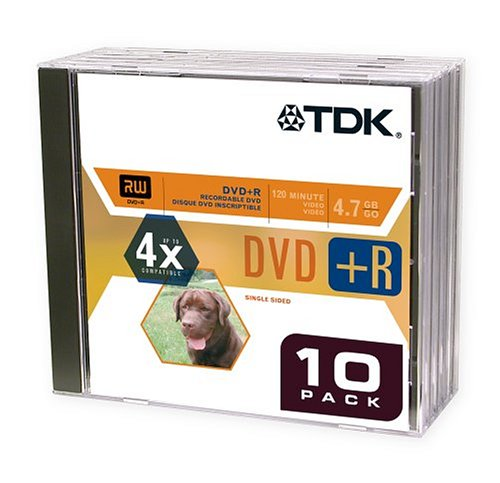 TDK DVD+R Blank Media with Jewel Cases