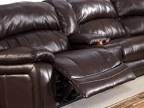 Ashley Damacio U98200-58-46-77-19-57-62 6-Piece Sectional Sofa with Left Arm Facing Power Recliner Armless Chair Wedge Armless Recliner Console and Right Arm Facing Power Recliner in Dar