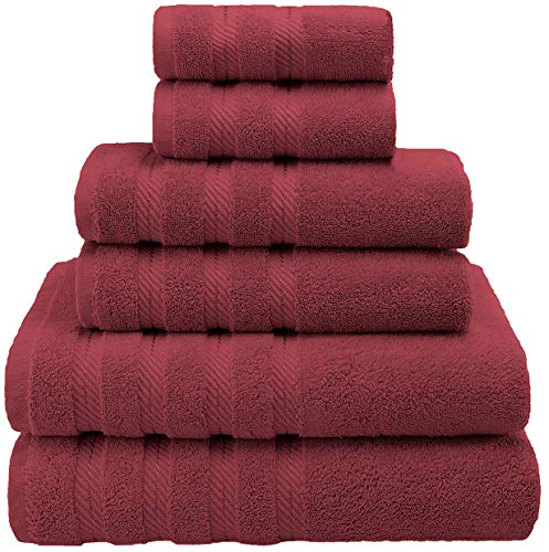 Gingham Labels - Premium, Luxury Hotel & Spa Quality, 6 Piece Kitchen and Bathroom Turkish Towel Set, Cotton for Maximum Softness and Absorbency by American Soft Linen, [Worth $78.95] (Bordeaux)