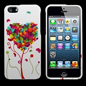 CoverON? WHITE Hard Snap-On Cover Case with PINK GREEN BUTTERFLY HEART Design for Apple Iphone 5S / 5 With PRY- Triangle Case Removal Tool [WCE835]