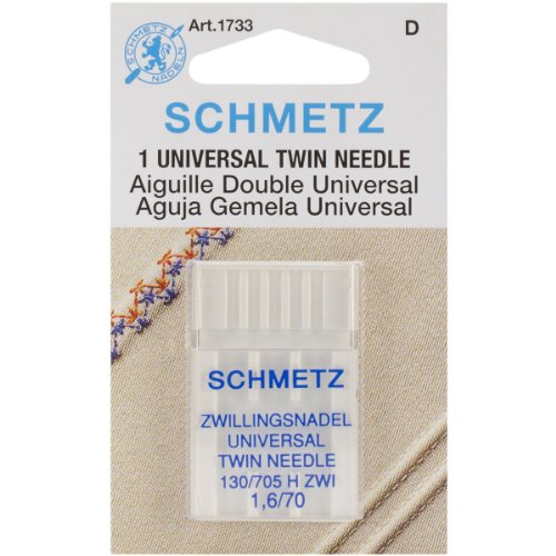 Twin Machine Needle, Size 1.6/70, 1 Per Package