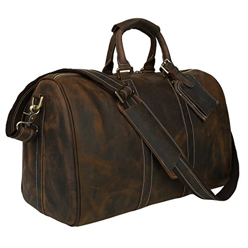 b1ff844ed Polare Men's 18'' Retro Real Leather Weekender Duffel Overnight Bag Carry  On Luggage by