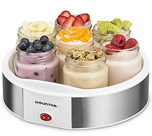 Gourmia GYM1610 Yogurt Maker With 7 Glass Jars Customize To Your Flavor And Thickness, Free Recipe Book Included