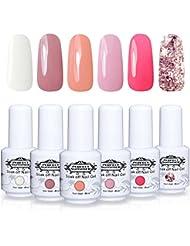 Perfect Summer Soak Off Gel Nail Polish - UV LED Gel Polish Nail Varnish Gift Kits , Pack of 6 Colors 8ML #005