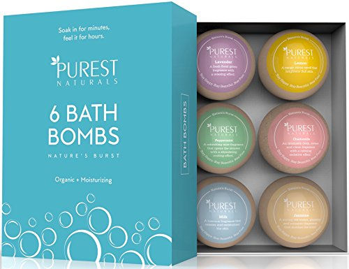 Purest Naturals Holiday Bath Bombs Gift Set Kit - 6 x 4 Oz Best Ultra Lush Fizz Essential Oil Handmade Spa Bomb Fizzies - Organic & Natural Ingredients - Tub Tea Bath Basket (Holiday Gift)