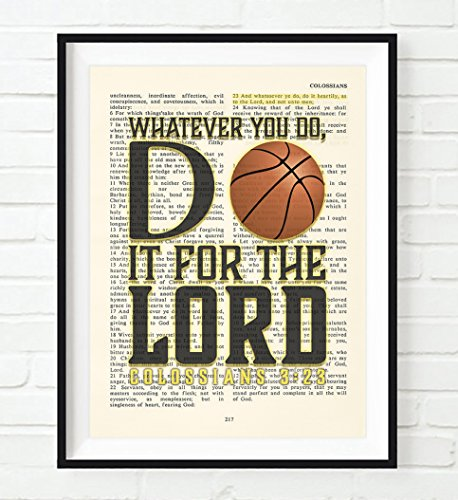 Whatever You Do, Do It For the Lord -Colossians 3:23- Vintage Bible verse wall ART PRINT, UNFRAMED, Basketball Christian art wall decor poster, Christmas gift, All Sizes (Christmas At Kids Scriptures For)