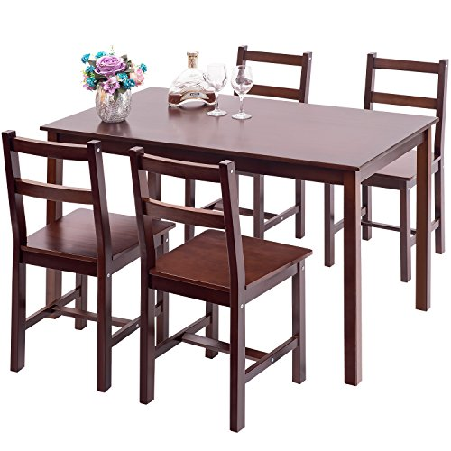 Merax 5pc Dinning Set Table with 4 Chairs Dining Dinette Table Chairs, Brown Brown Dinette