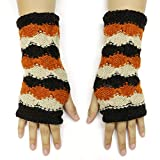 CFrost Women's Hand Knit Tri Color Fingerless Arm Warmer Gloves