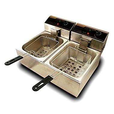 Generic 5000W 12 Liter Electric Countertop Deep Fryer Dual Tank 6 Commercial Restaurant