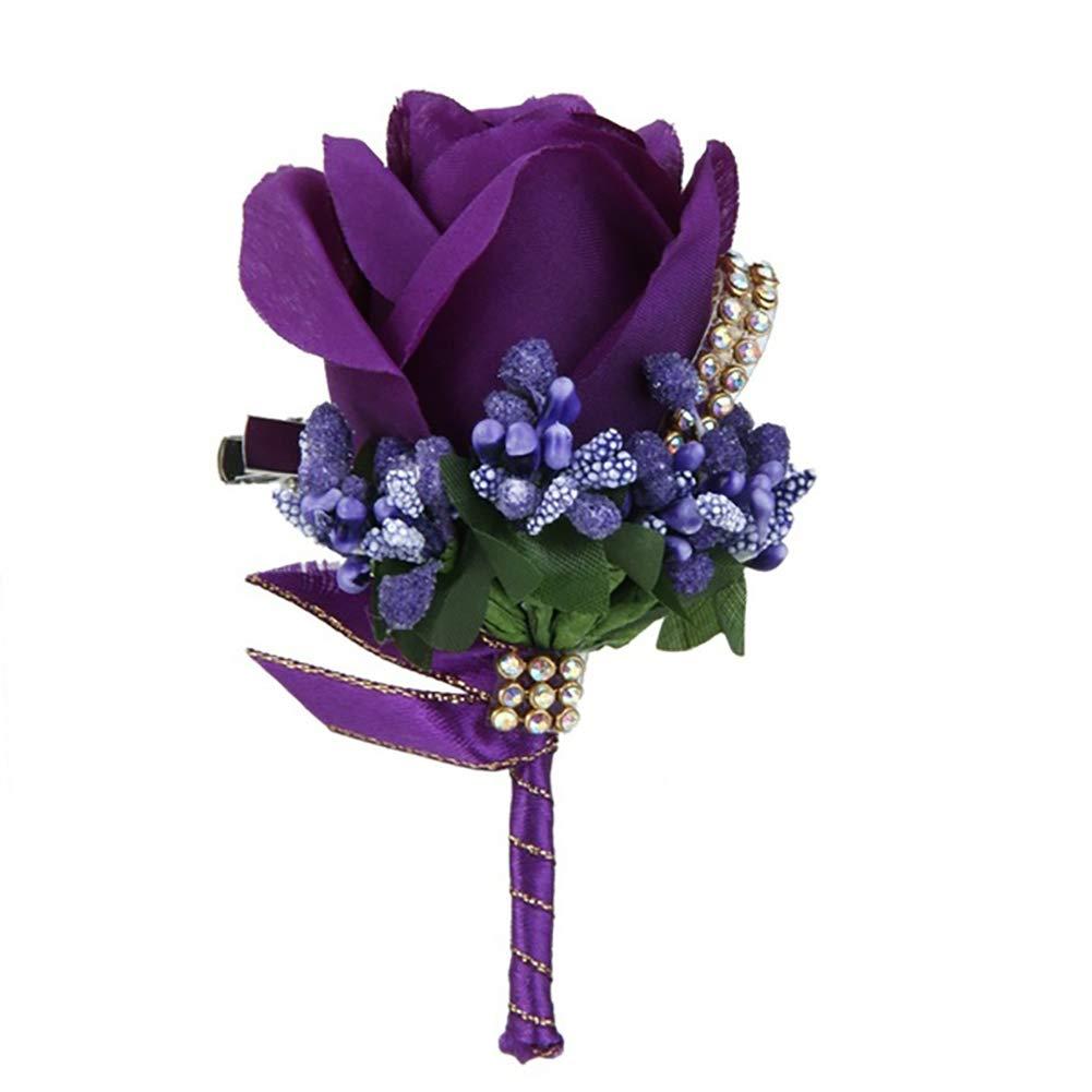 Dds5391 Refined Wedding Bridal Groom Bling Rhinestone Boutonniere Silk Cloth Rose Flower Corsage - Dark Purple