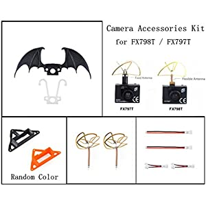 Crazepony FX798T FX797T Camera Accessories Kit with Camera Mount Antenna Protectors 4 Leaf Clover Antenna Connector Cable for Tiny Whoop Blade Inductrix