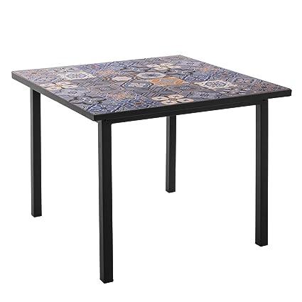 a4668b38f Mesa de jardín de Hierro y Mosaico Azul para terraza Garden - LOLAhome