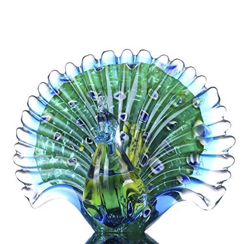Crystalsuncatcher Hand Blown Colorful Peacock Art Glass Table Top Sculpture Room Decor (Peacock)