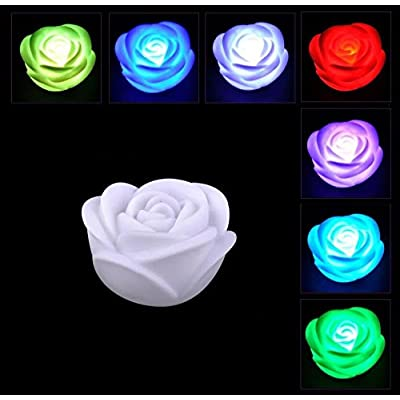 Chris.W 6Pcs Fancy Colorful 7 Colors Changing LED Rose Flower Romantic Wedding Valentine's Day Decoration Party Lamp Candle Flameless Lights Make a Wish Lights: Home Improvement