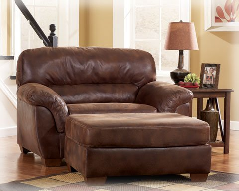 leather chair and a half with matching ottoman